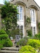 A patio garden with climbing roses
