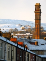 India Mill chimney, Darwen, on a winter day