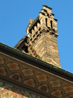 Decorative roofline with chimney