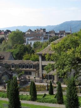 View of Zurich from hillside garden