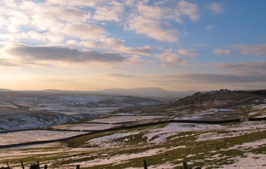 Snowy moorland view
