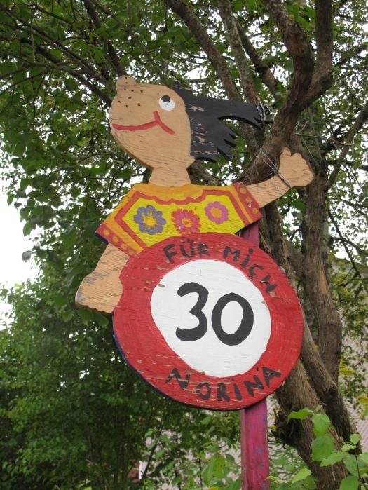 Norina speed limit sign