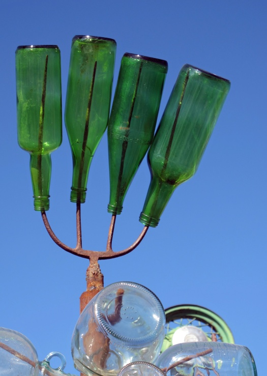 Pitchfork bottle tree