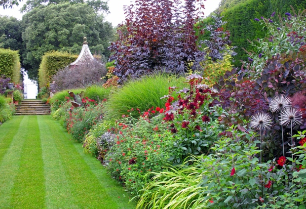 Red border at Hidcote Gardens - right