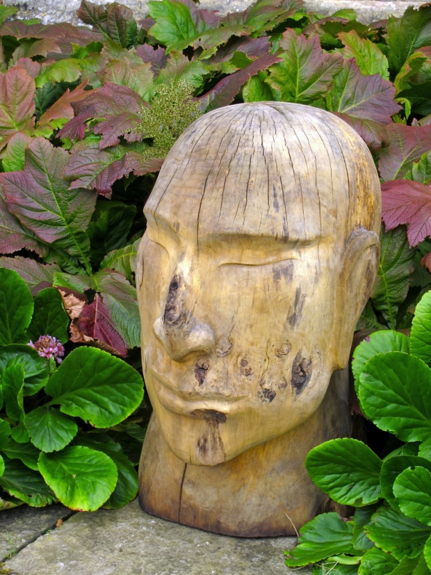 Art in the garden - wooden head