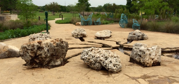 Holey rock in the children's garden