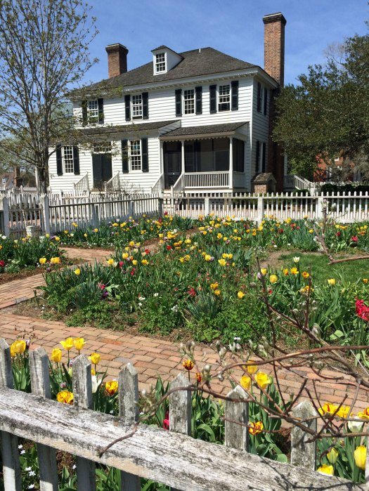 Fenced Colonial Williamsburg garden