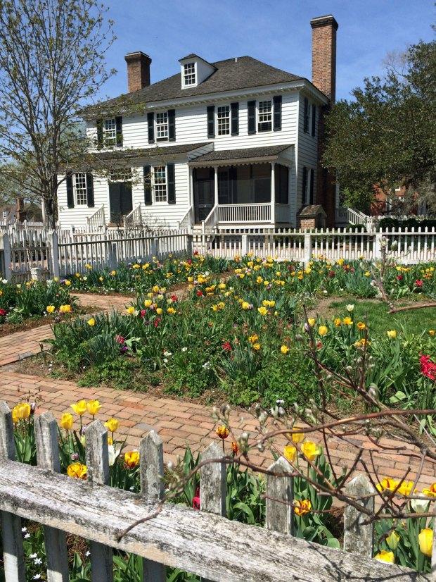 Fenced Colonial Williamsburg garden