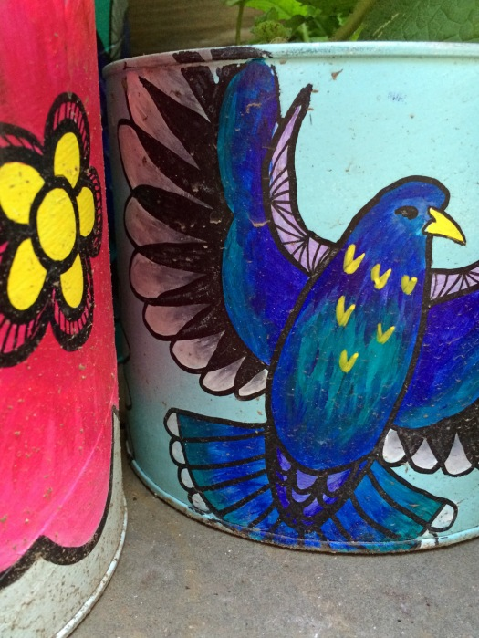 Bird and flower pots