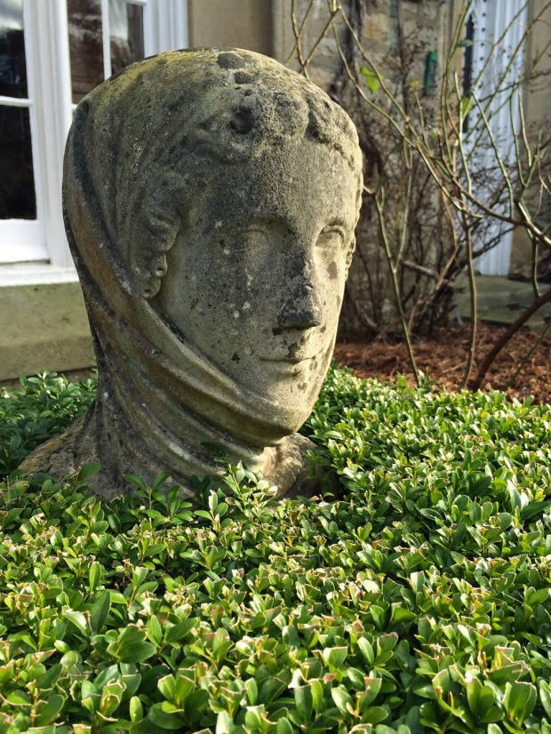Stone head encased in box topiary