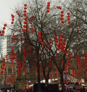 Trees dressed for Chinese New Year