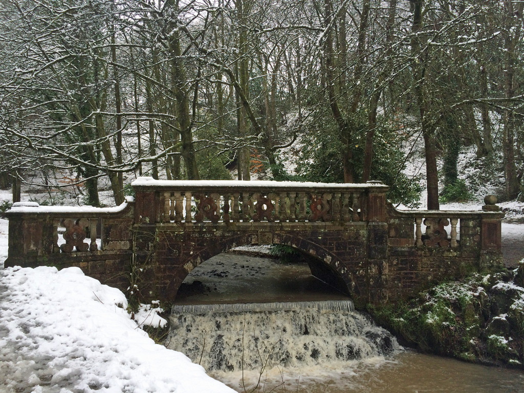 Sunnyhurst Wood bridge with waterfall