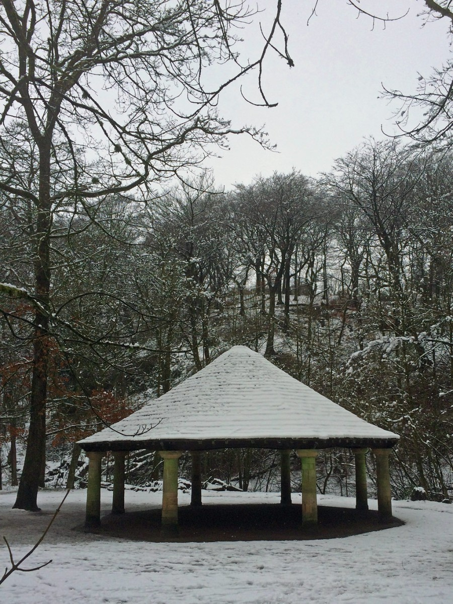 Sunnyhurst Wood bandstand in the snow
