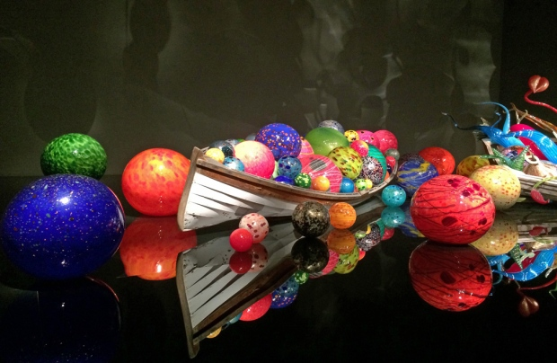 Chihuly boat with glass orbs