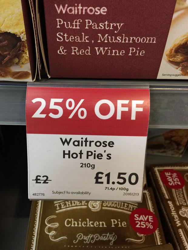 Waitrose shelf label for pies