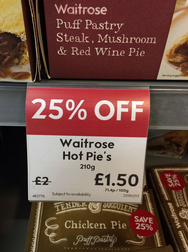 Waitrose shelf label for pies