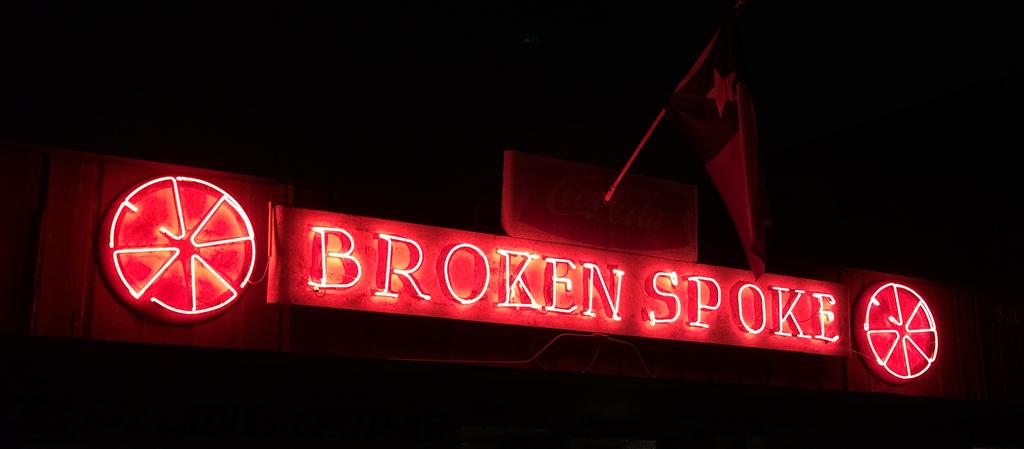Broken Spoke neon sign
