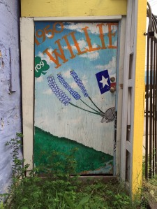 Door painted with landscape and a floating armadillo