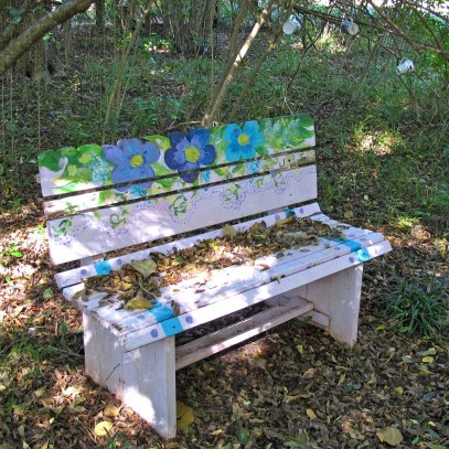 Flower power bench under coffee cup tree