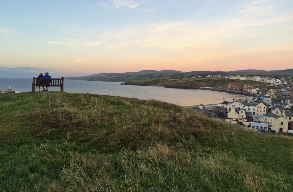 View of the bay as sun sets from Peel Hill, Isle of Man