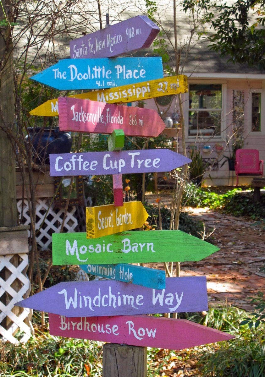 Directional signpoint to places of interest and garden areas