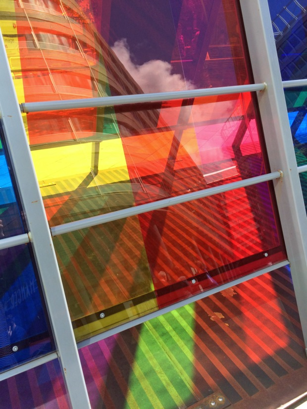 Colourful bus shelter