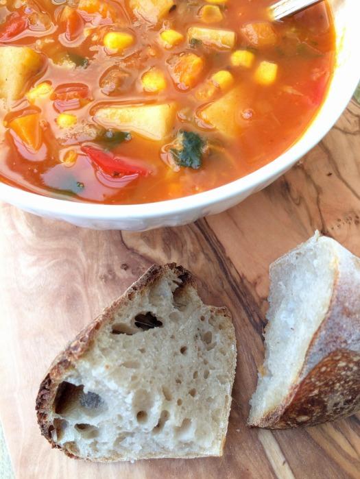 Veggie soup with sourdough
