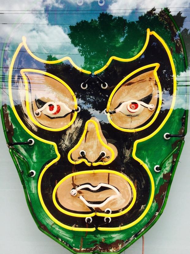 Neon green luchador mask