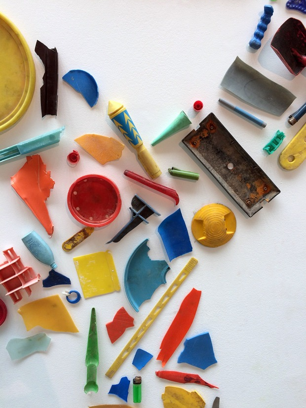 Recycled plastic objects used to create artwork