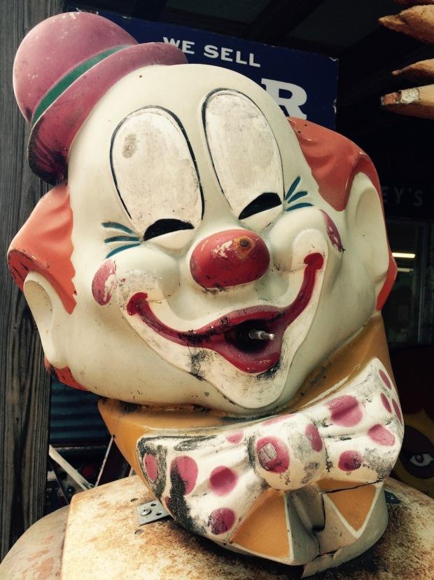 Roadside memorabilia: the head of a clown