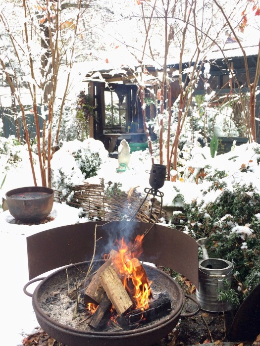Logs burning in a fire pit in a snowy landscape