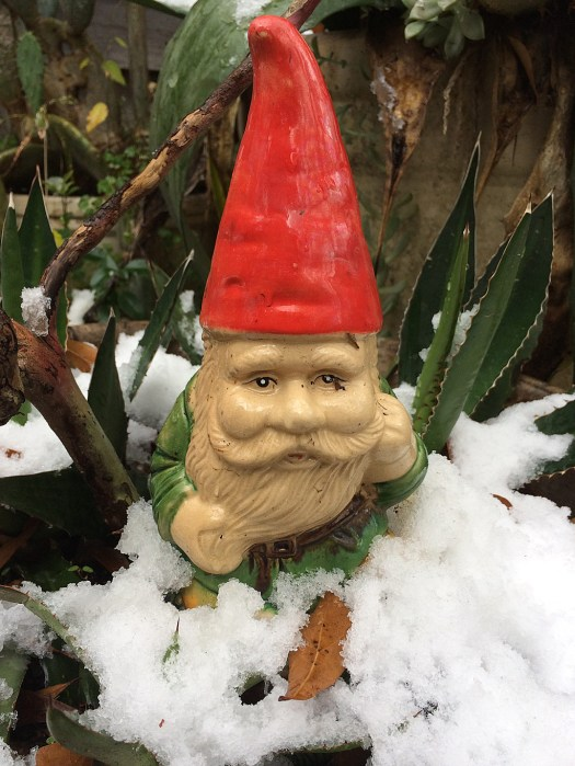 Gnome with snow to the tunic