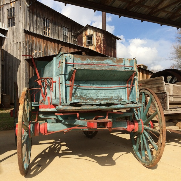 Antique wagon with faded paint