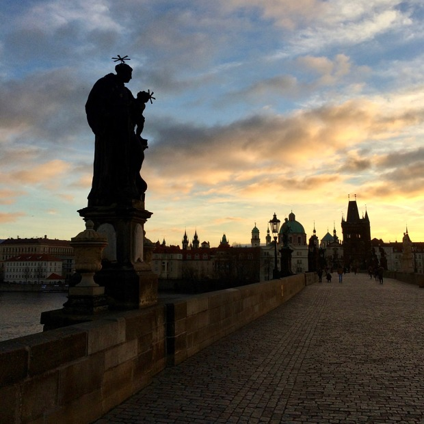 Prague silhouetted from Charles Bridge