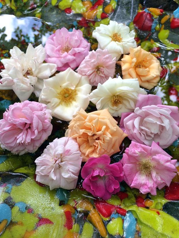 Roses in art glass bird bath