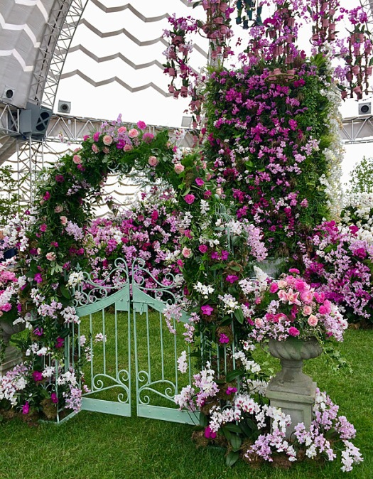 Pink and white orchids with stone urn and a metal gate