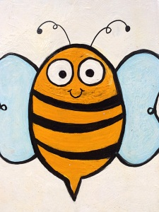 Smiling bee with blue wings