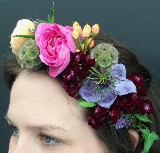 Garden roses, Hypericum berries, nigella and Sweet William,