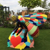 Colourfully decorated giant bee