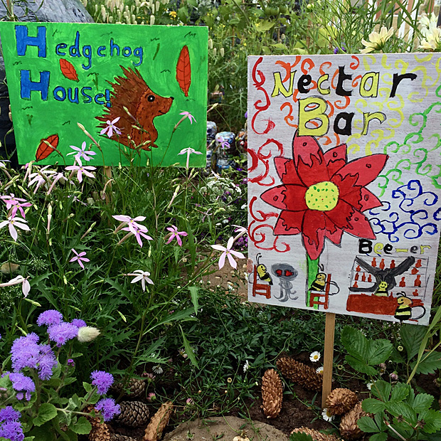 Decorated signs in a children's garden