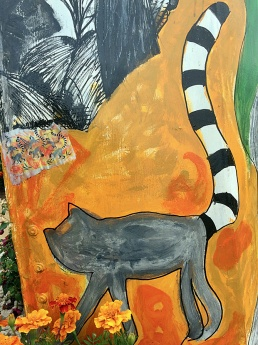 Painting of a lemur with long black and white tail