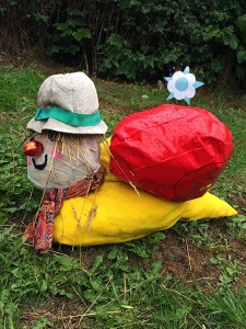 Magic Roundabout snail with a hat and scarf