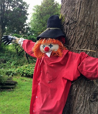 Clown with orange wool hair and a bright red coat