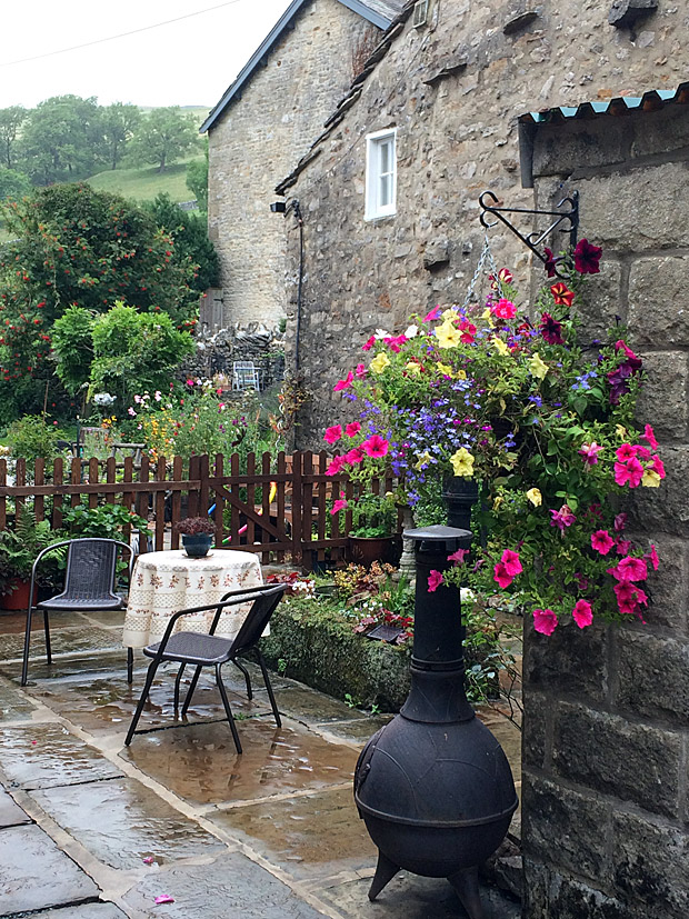 Hanging basket of annuals in a patio garden