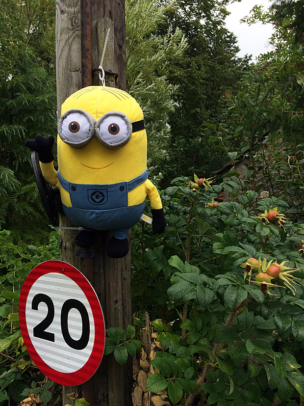 Minion scarecrow by a traffic sign