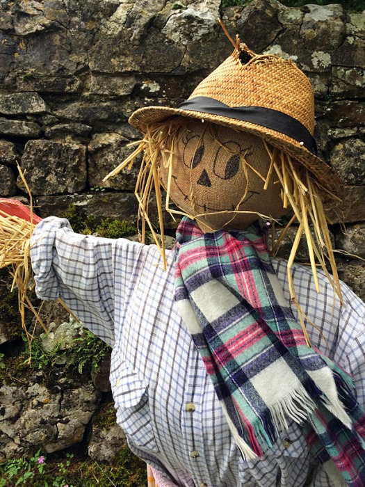 Smiling scarecrow with straw hair and hat