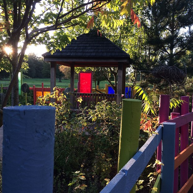Garden with colourful fence and panels backlit by the setting sun
