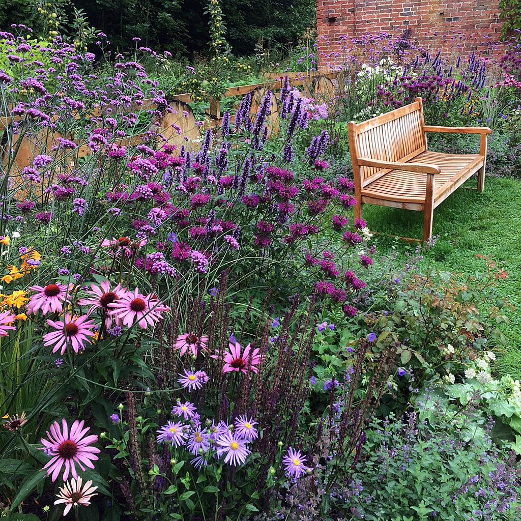 A bench in an abundant flower garden