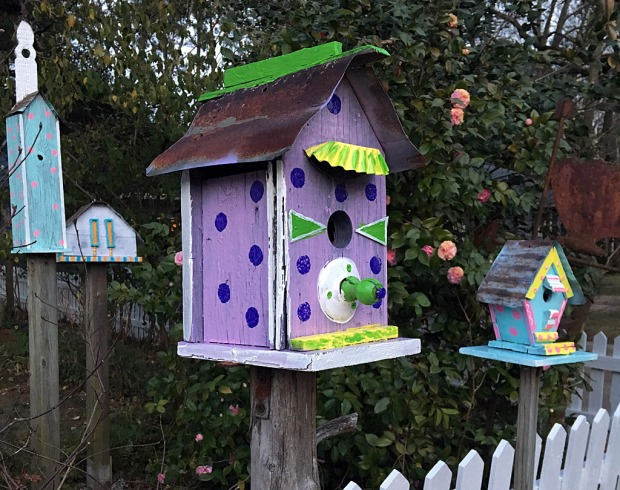 Polka dot birdhouse with tin roof