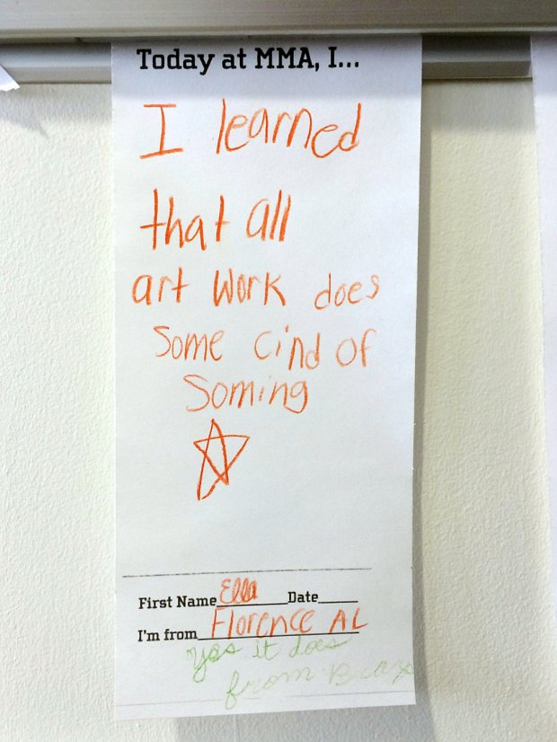 Child's writing on a museum response card